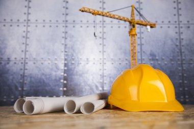 Construction site, crane and Blueprints