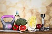 Fitness dieta a vitamíny koncept