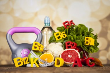 Fitness vitamin concept, fresh fruit and vegetable