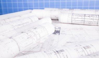 Rolls of architecture blueprints concept