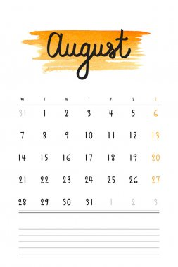 Vector calendar 2017 template with orange watercolor stain and lines for notes. Hand drawn lettering - summer month - August 2017.