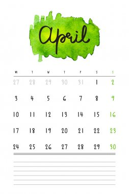 Vector calendar 2017 template with green watercolor stain and lines for notes. Hand drawn lettering - spring month - April 2017.