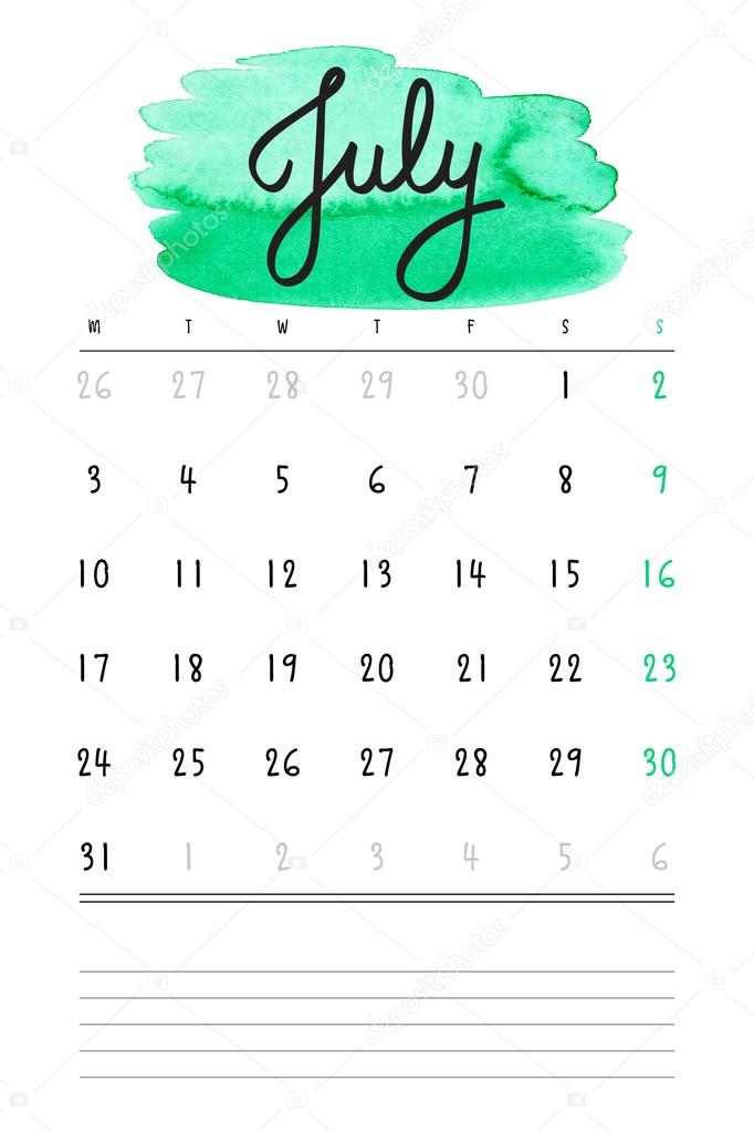 Vector Calendar 2017 Template With Green Watercolor Stain And Lines