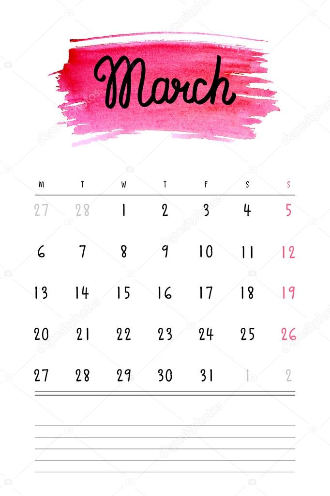Vector Calendar 2017 Template With Pink Watercolor Stain And Lines