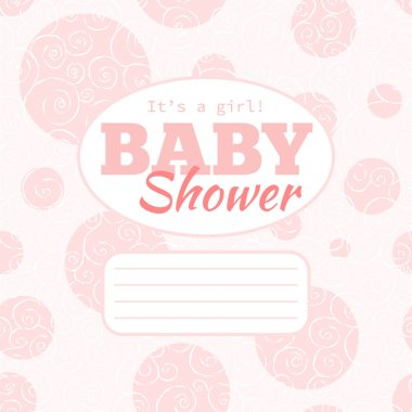 Vector pink baby shower party invitation (baby girl) with doodled swirles and empty space for text.