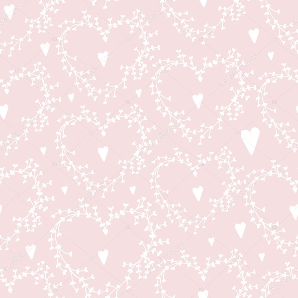 Vector hand drawn seamless pattern with wreathes and hearts Good ...