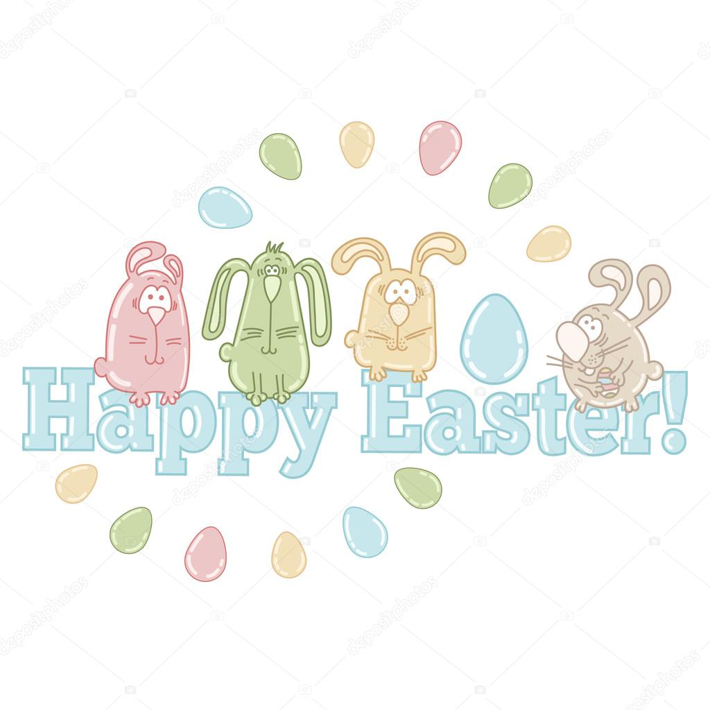 Vector easter greeting card with cute easter eggs bunnies and words vector easter greeting card with cute easter eggs bunnies and words happy easter m4hsunfo