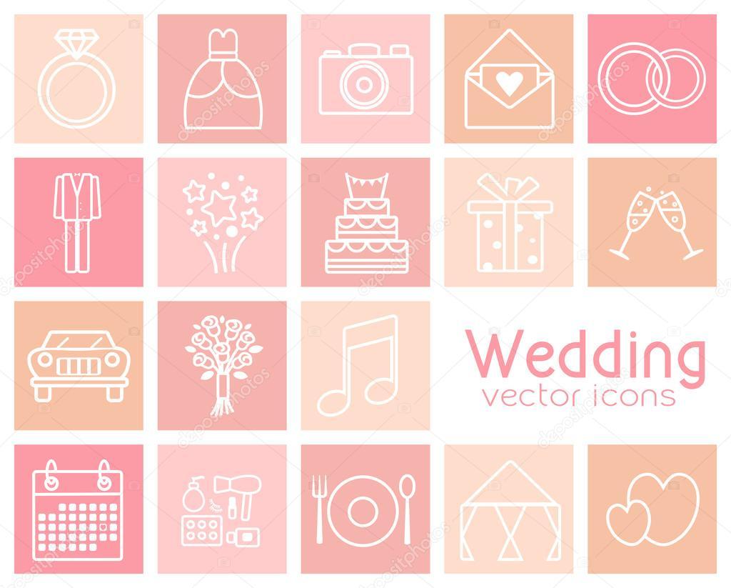 Conjunto de iconos de vector de la boda. Vestido de novia, traje ...