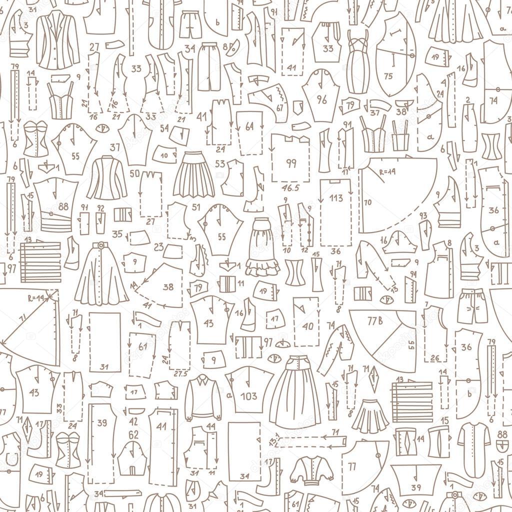 Patrón sin fisuras de la doodle con ropa y patrones de costura ...