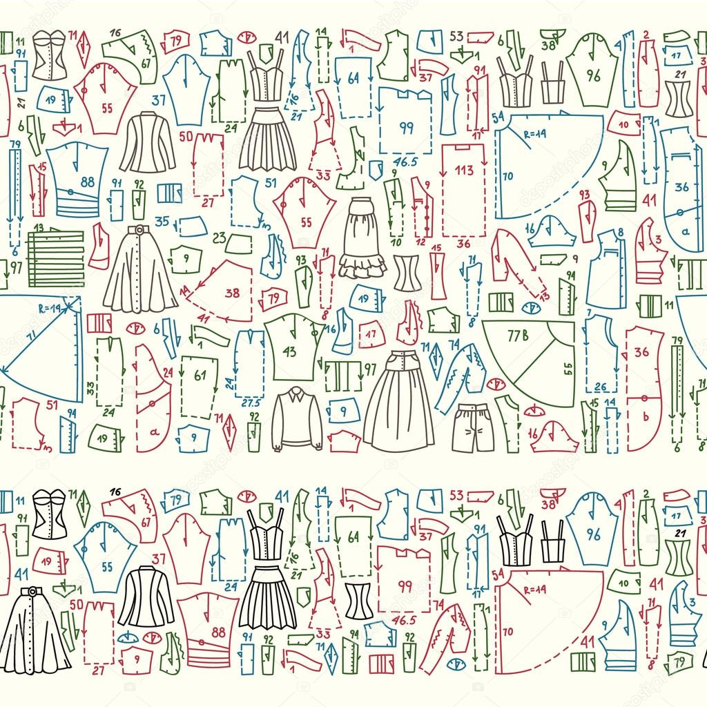 Seamless doodle borders with clothes and sewing patterns — Stock ...