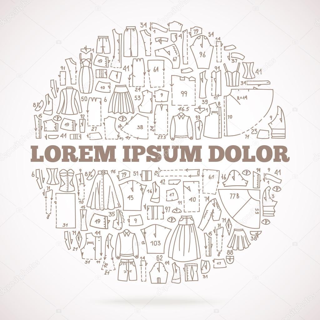 Marco la doodle dibujado a mano con la ropa y patrones de costura ...
