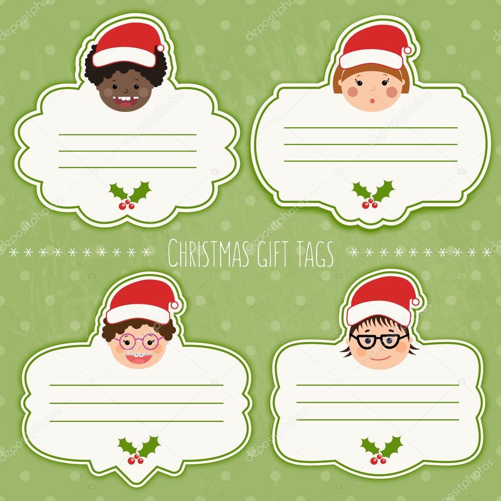 Vektor-Satz Weihnachtsgeschenk tags für Geschenke Kinder Lächeln ...
