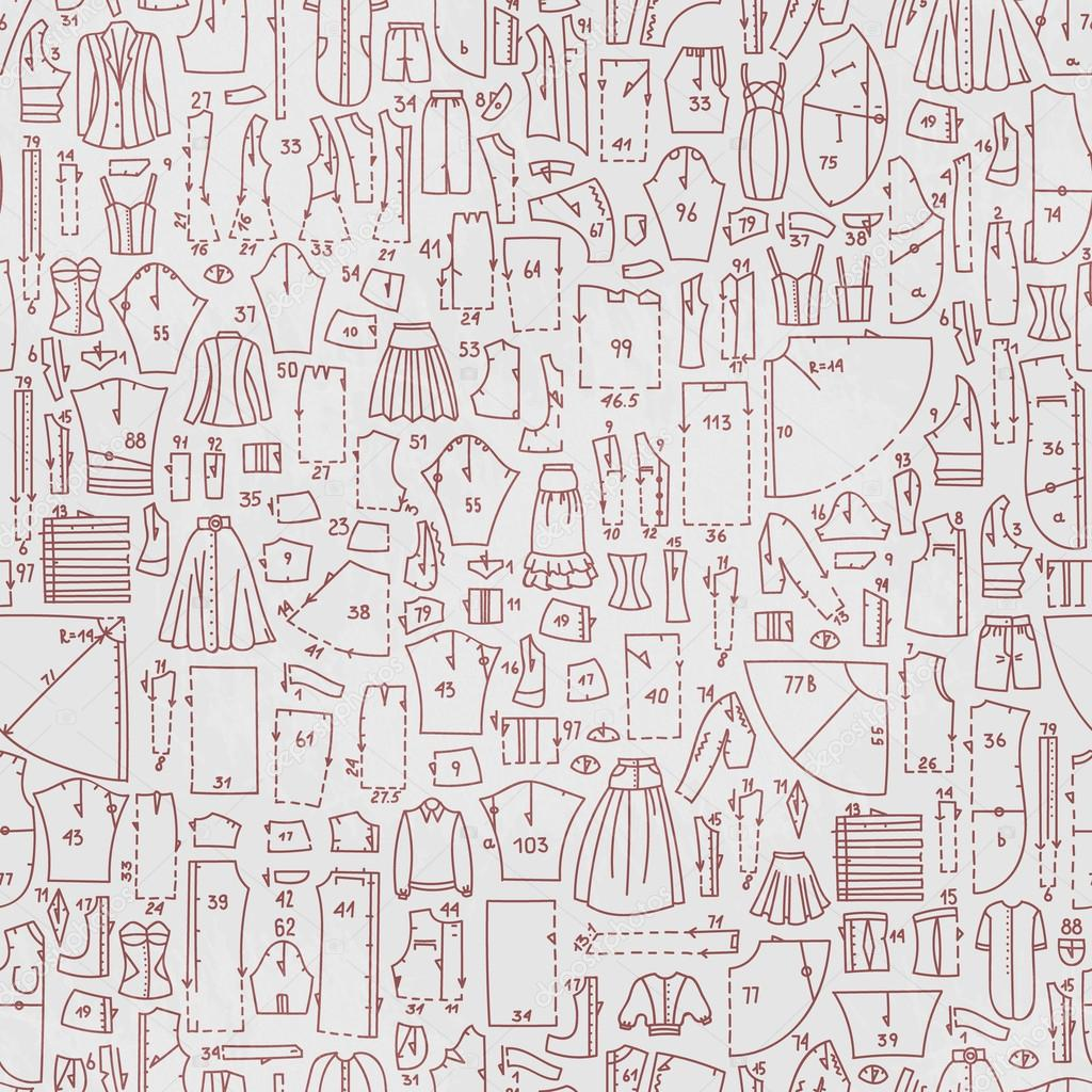 Vector seamless hand drawn doodle pattern with clothes and sewing ...