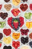 Health Food in Heart Shaped Bowls
