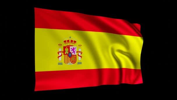 Zászló Spain animáció, spanyol 3D lengetés zászló fekete képernyőn, nemzeti zászló 4K animáció háttér.