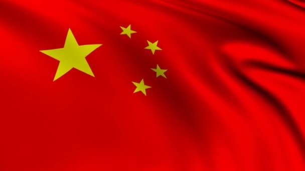 The flag of China animation,  Chinese 3D waving flag close up, national flag 4K animation background.