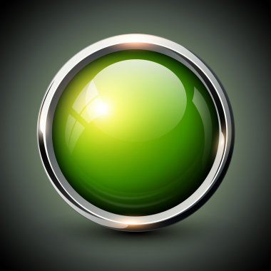 Green shiny button with metallic elements, vector glossy design for website. stock vector