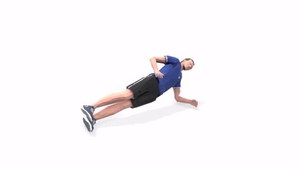 Side Plank With Leg Raises Man gyakorlat animáció 3D-s modell fehér alapon a kék pólóban. Alacsony poli stílus.