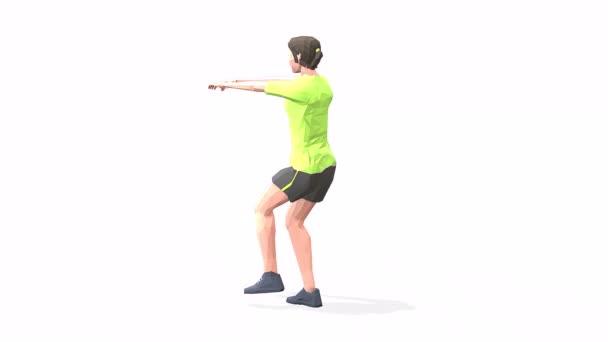 Pistole hockt Frau übt Animation 3D-Modell auf weißem Hintergrund im gelben T-Shirt. Low-Poly-Stil