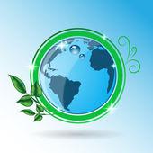 Zelená země s listy vektorové eps 10 ikony