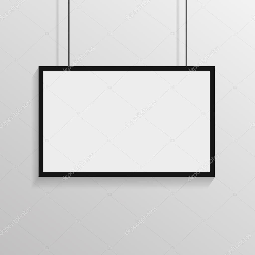 Weißes Plakat mit schwarzem Rahmen auf Wand Eps 10 Vektor ...