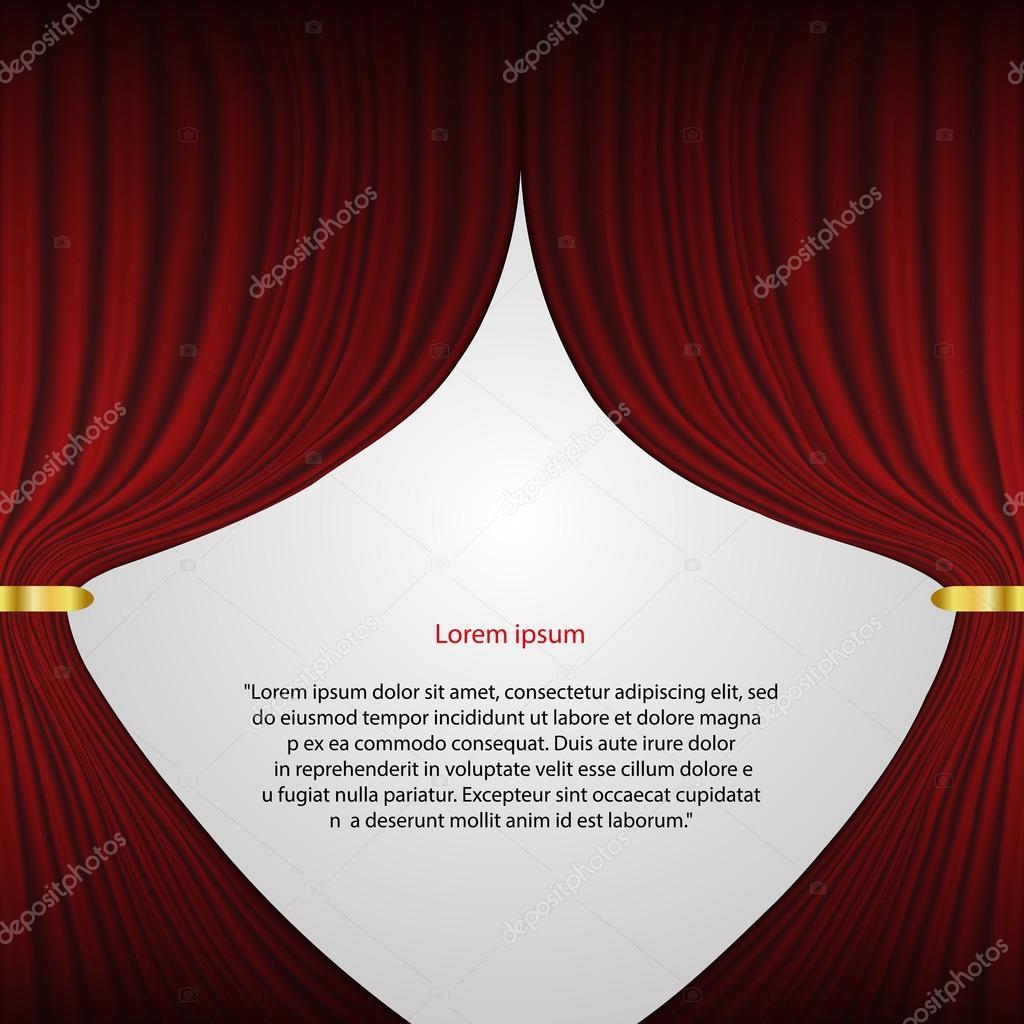 rode theater gordijn vector achtergrond eps 10 — Stockvector ...