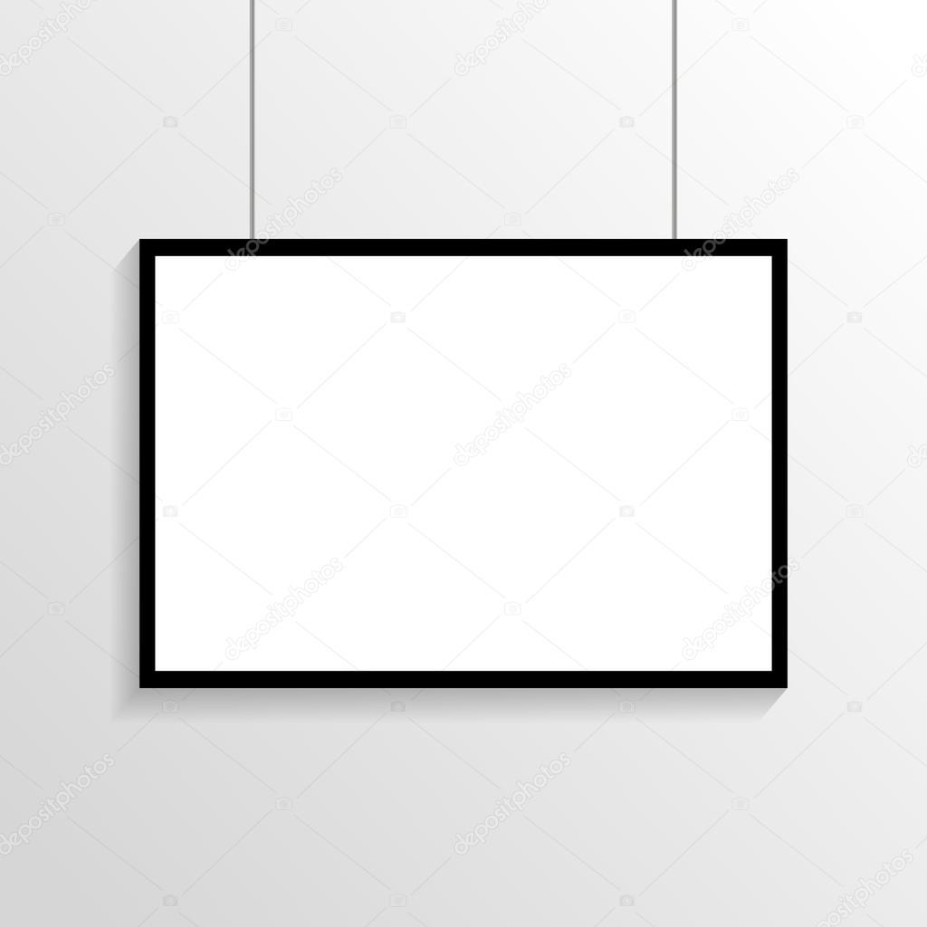 Weißes Plakat mit schwarzem Rahmen Mock-up auf graue Wand Eps 10 ...
