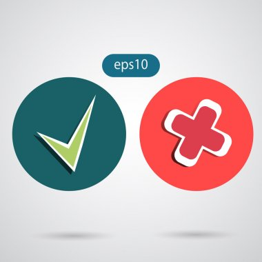 Flat game graphics icon tick yes or no eps 10