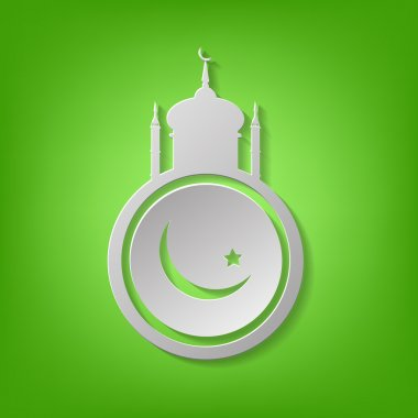 Arabic Islamic mosque on green background eps 10