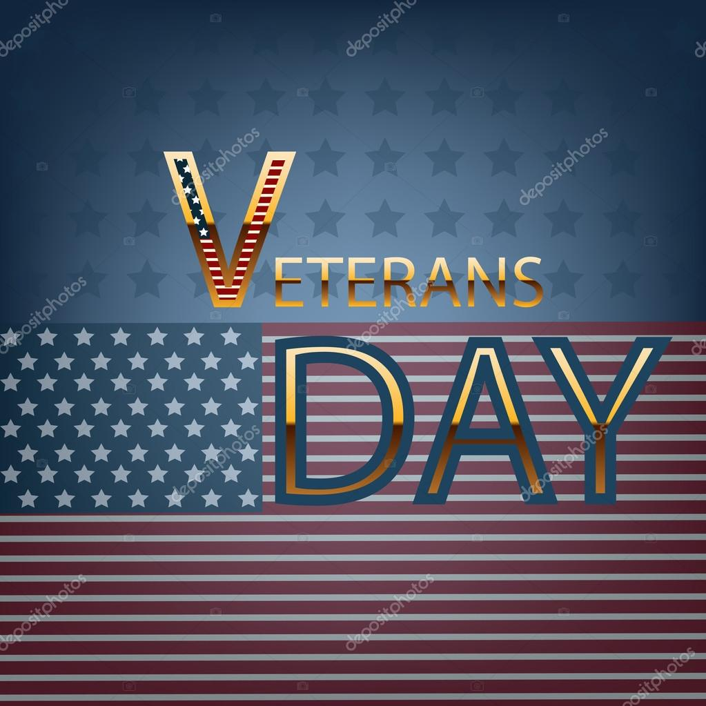 Veterans day gold text with flag eps10 vector illustration