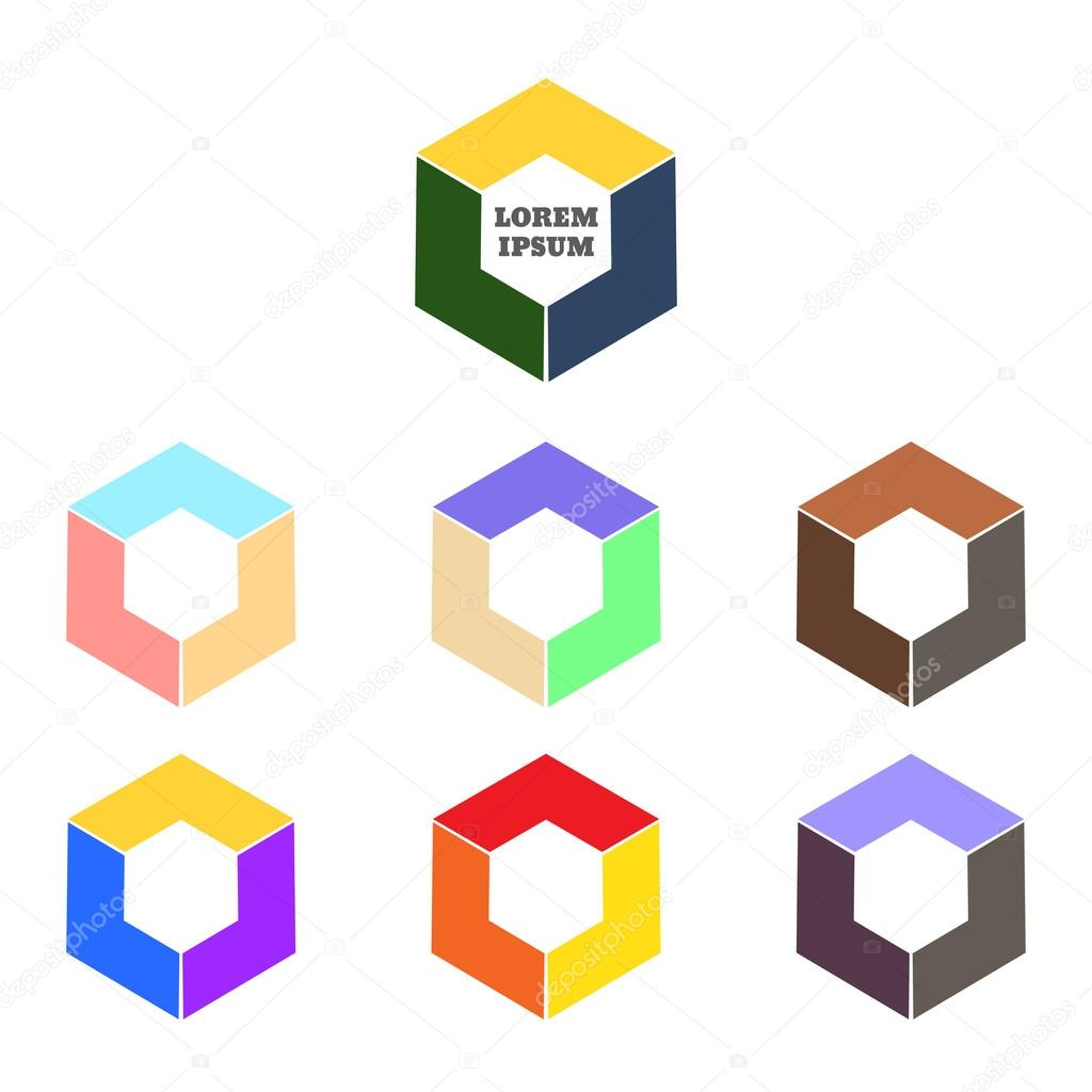 abstract logo vector template corner geometric shape and symmet