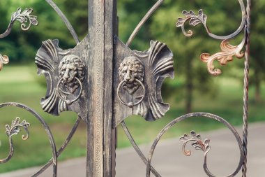 Two Iron lion heads on gate