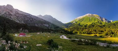 Panoramic Top view of the shelter Fischt. Russia, Caucasus
