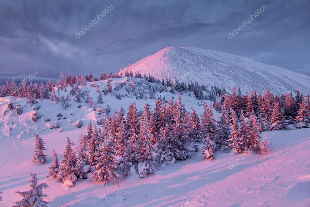 Winter mountain at sunrise