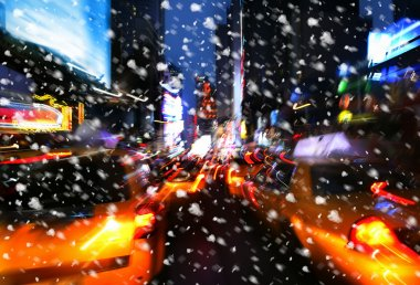 Snowfall. Illumination and night lights of New York City