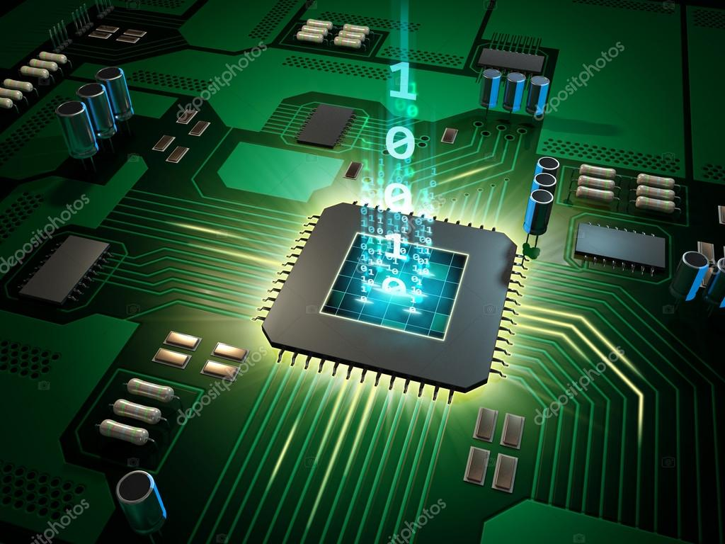Central Processing Unit On A Printed Circuit Board Stock Photo