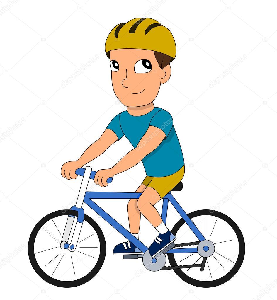 homem dos desenhos animados andar de bicicleta vetores de stock