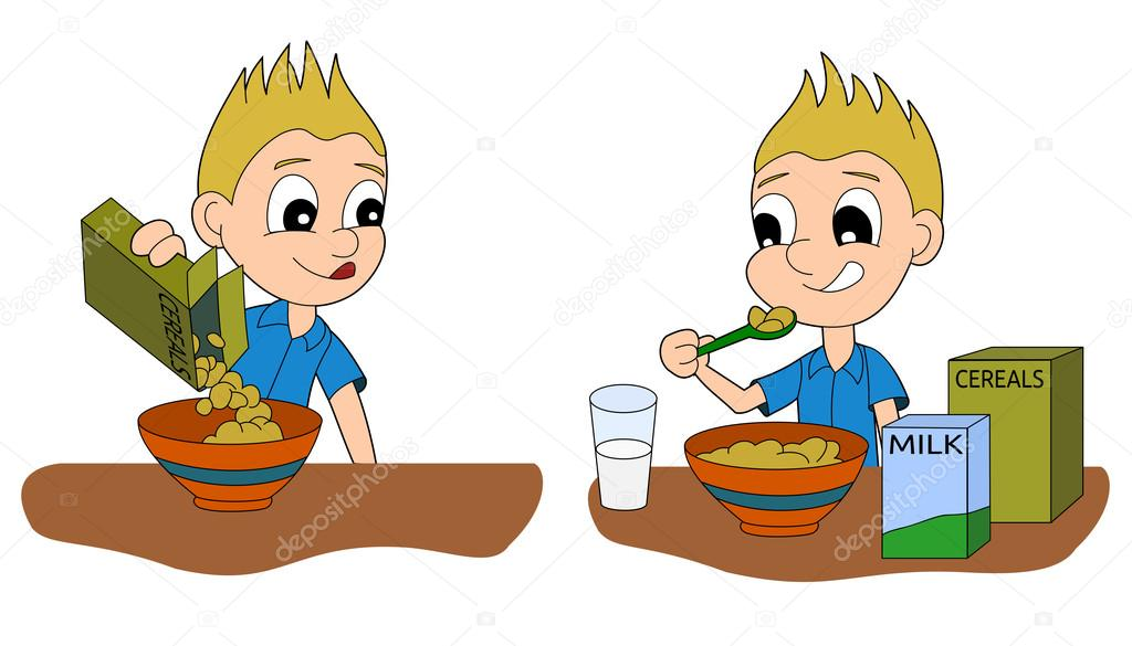 Animado: Un Niño Tomando Desayuno