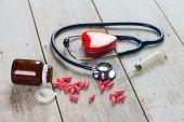Fotografie stetoskop a srdce zdravotní péče