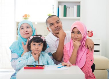 Malay family learning together