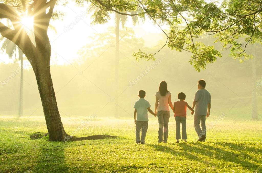 asian family walking