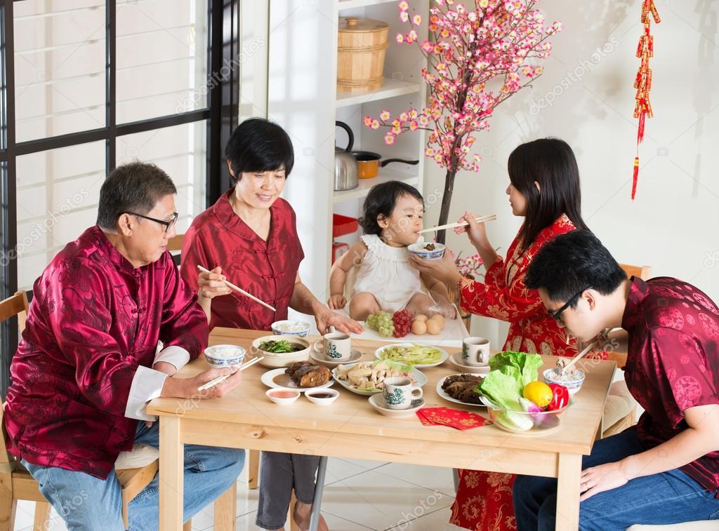 chinese new year dinner family stock photo 88194978 - Chinese New Year Dinner