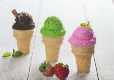 various cone ice creams