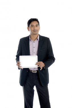 Business man presenting tablet