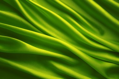 Silk Fabric Background, Green Satin Waving Cloth