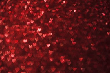 Hearts Lights Background, Heart Shape De Focused Red Sparkles
