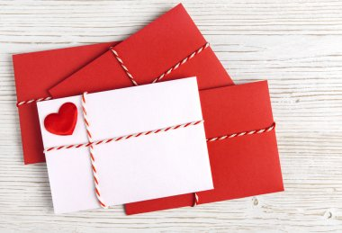 Envelope Mail with Red Heart and Ribbon on White. Valentine Day Card, Love or Wedding