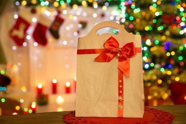 Paper Bag Christmas Lights, Xmas Decorated Gift Package