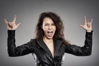 chick in leather jacket yelling