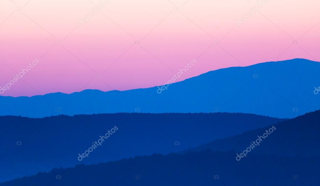 landscape with mountains silhouettes